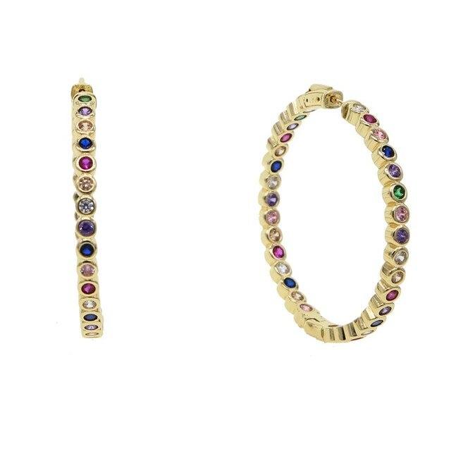 Большие серьги кольца 50 мм золотистый цвет микро кубический