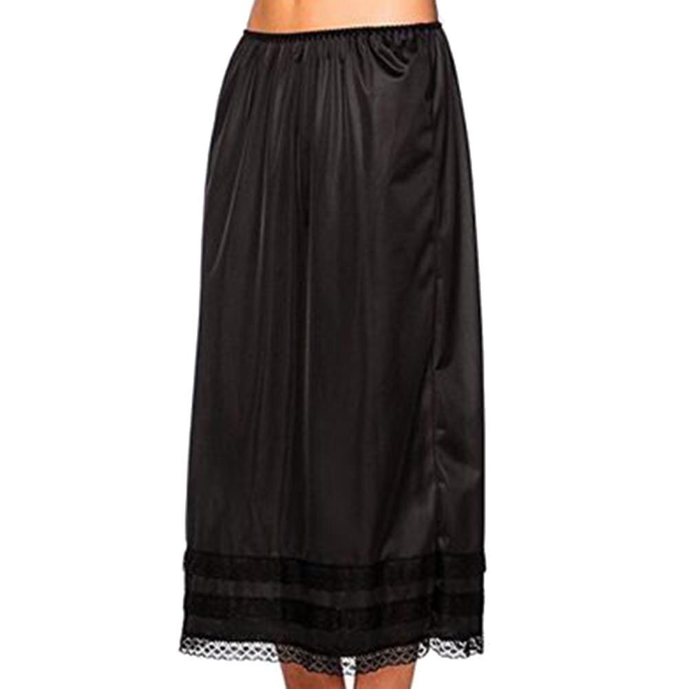 Women Solid Color Elastic Waist Lace Patchwork Underskirt Petticoat Midi Skirt 2019