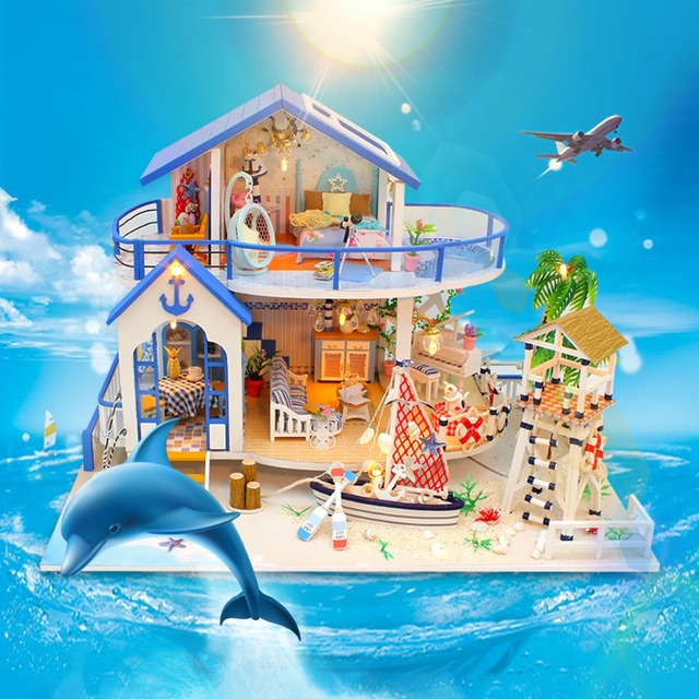Sea Villa LED Miniature Wooden Doll House with Furniture