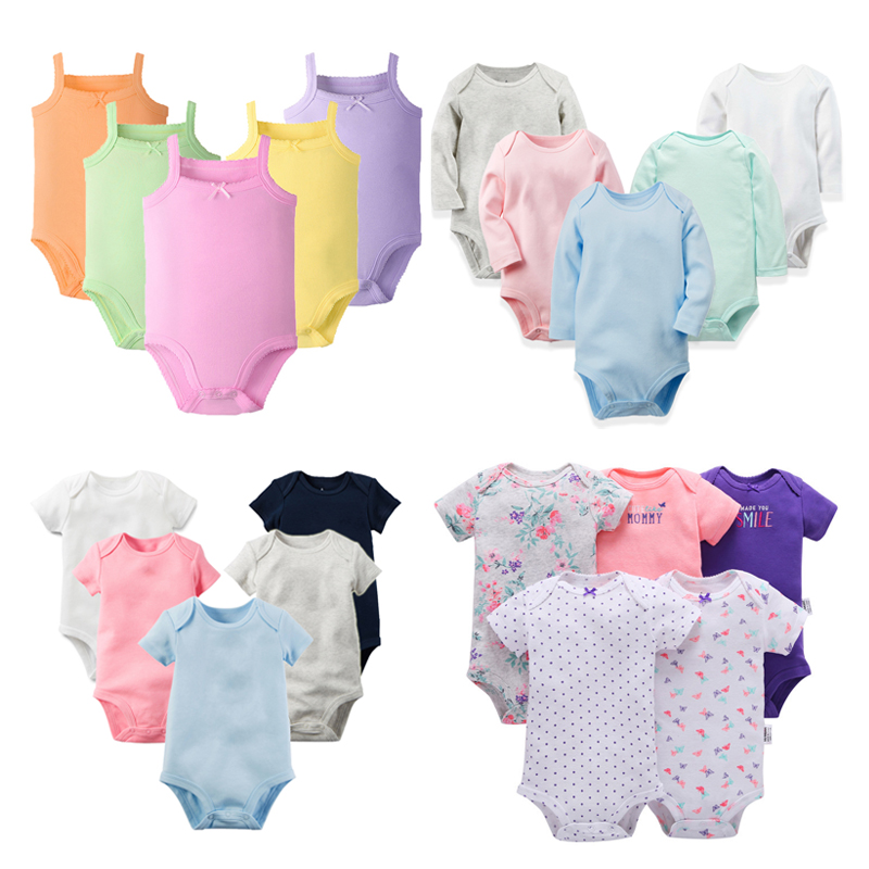 5pieces/lot Baby Clothes Infant Clothing Jumpsuit Bebe Girls   Romper   Soft Cotton Newborn Baby Sliders Boys Outfits Overalls 3-24M