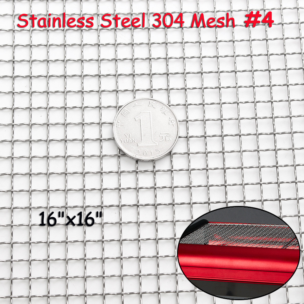 NEW Stainless Steel 304 Mesh #4 .047 Wire Cloth Screen Filter 16''x16'' 40cm x 40cm