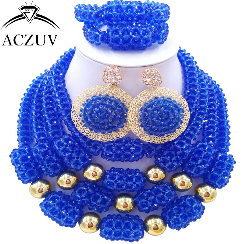 ACZUV Latest Blue African Beads Nigerian Wedding Engagement Jewelry Set for Women Big Earrings Necklace Bracelet D4R032