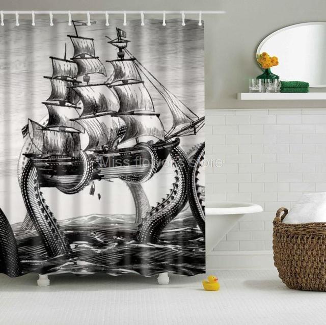 Octopus Kraken Attack Galleon Sailing Ship Retro Design Custom Shower Curtain Polyester Fabric With 12 Hooks Multi Size