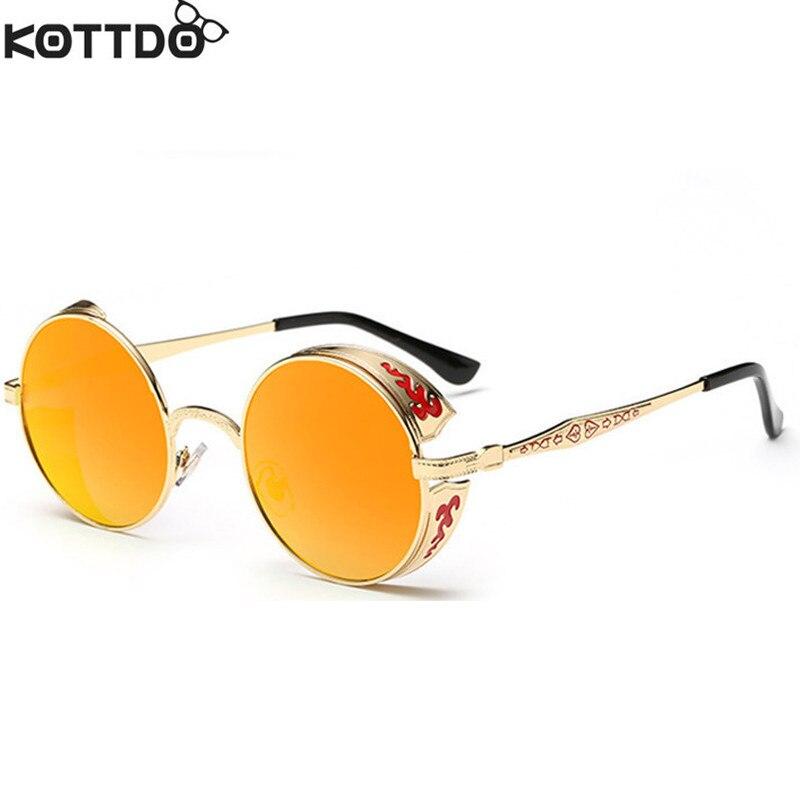 KOTTDO Novo Design de Moda Revestimento de óculos de Sol Espelhado Óculos  De Sol dos homens Rodada óculos de Sol Retro Vintage Frames Gafas Oculos de  sol 70e4630bb5