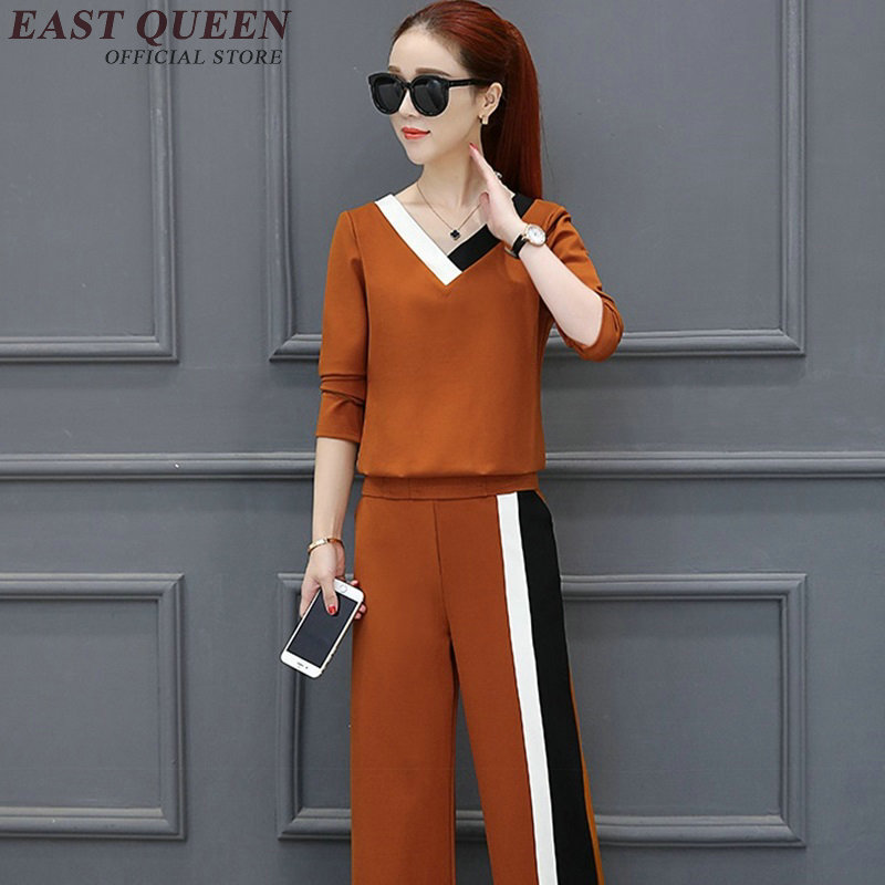 Womens two piece sets 2018 Women Solid Knitted Sweatshirt Pant Suits Pant Warm Pullovers Tracksuit Femme