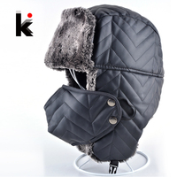 2016 Fashion warm cap leather with ear flaps russian mens winter hat bomber masks hats for men