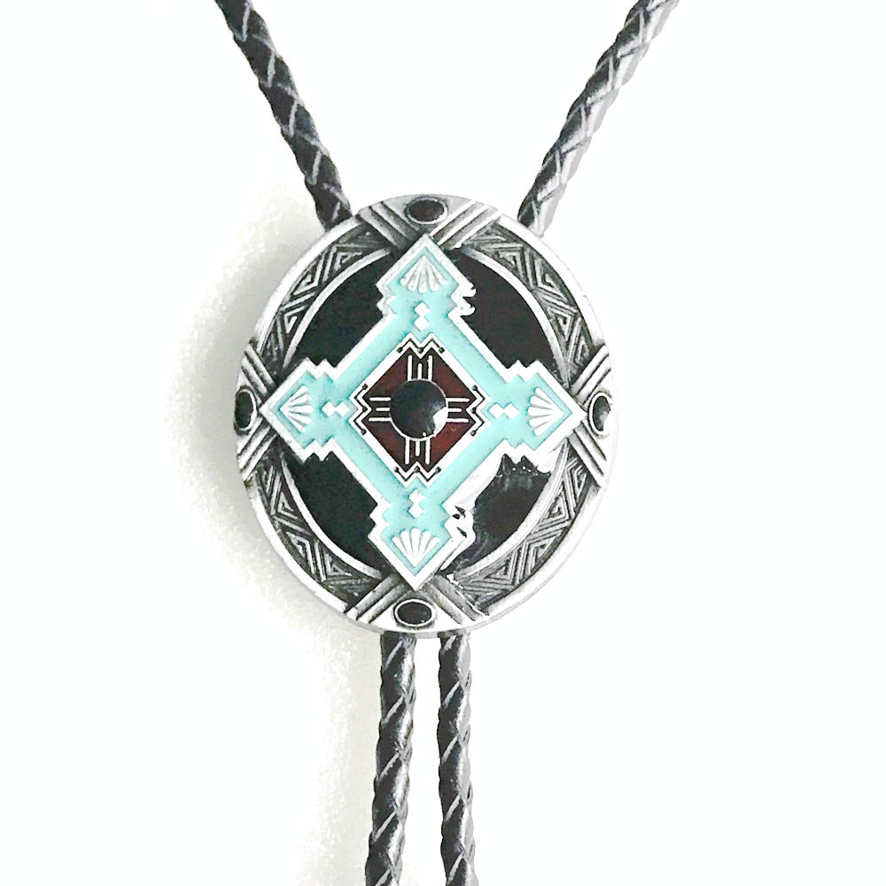 Western Bolo Tie Pendant Necklace Dance Rodeo Bola Bolo Tie Metal For Women Cowboy Leather Necktie Men's Necklace Jewelry
