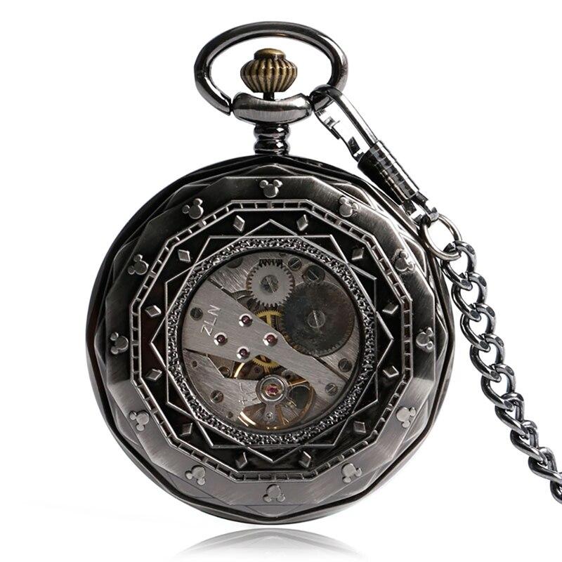 Relógio de Bolso para Homem Relógios Mecânicos Retro Vapor Vintage Mulher Locomotiva Padrão Mão Enrolamento Steampunk Pequenos Segundos Design