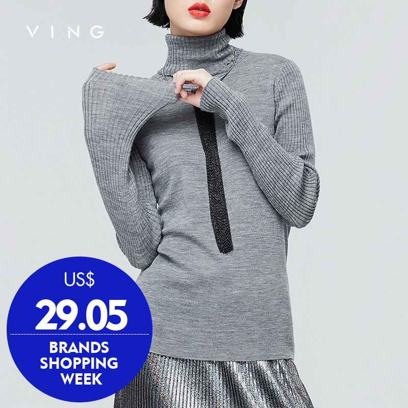 VING 2017 Autumn New Solid Turtlen Neck Sweater Stretch Collar Female Casual Slim Elastic Pullover