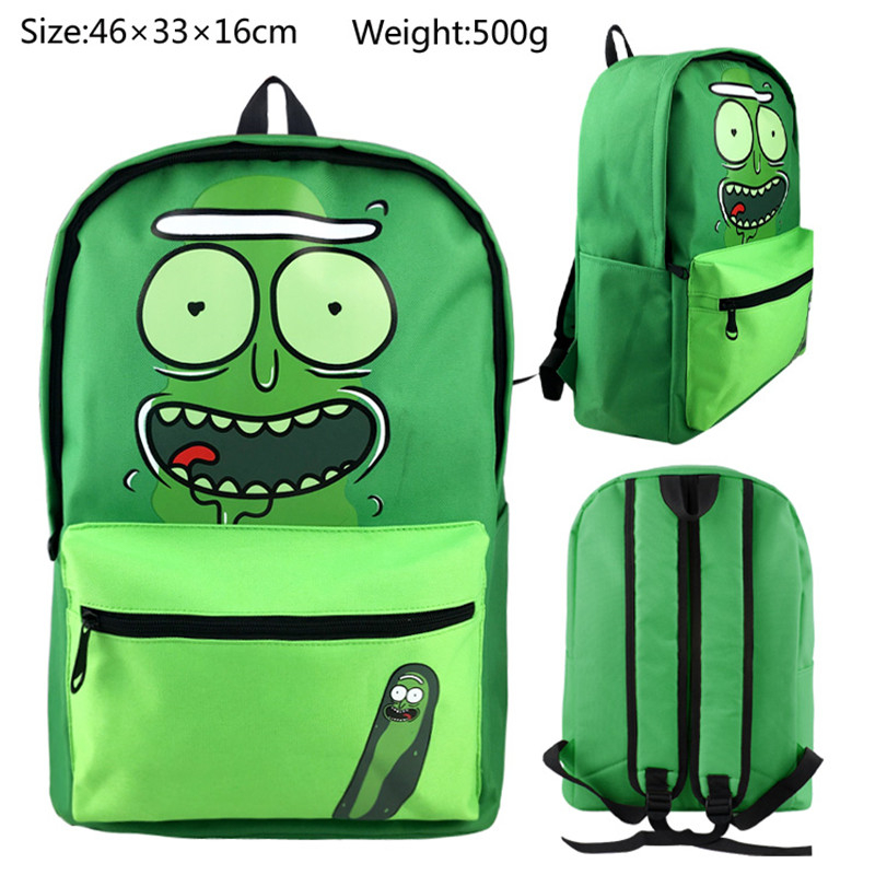 Rick And Morty Pickle Rick Print Backpack Colours School Bag Shoulder Bag Mochila Casual Packsack Laptop Travelling Bag Rucksack