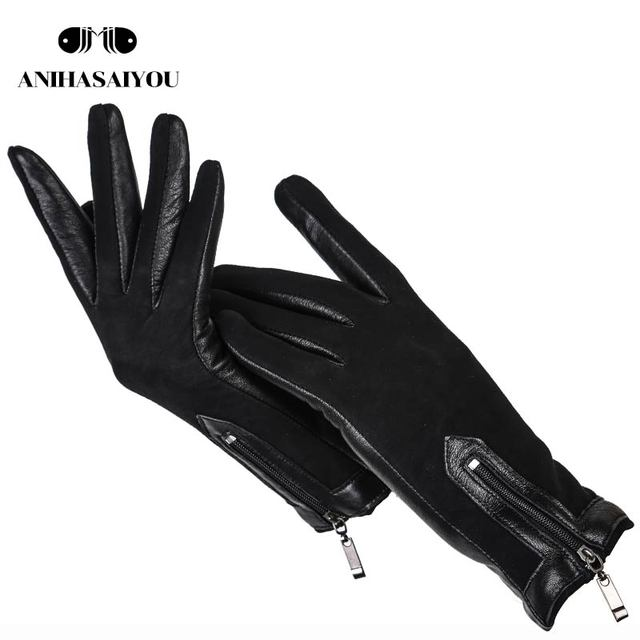 Zipper Short Women Leather Gloves High Grade Gloves Matte Leather Black Genuine Leather Gloves Women 0716