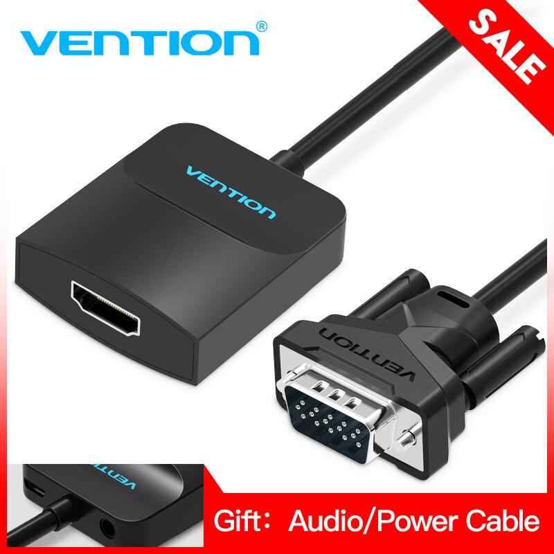 Tions VGA zu HDMI Konverter Adapter Kabel 1080 p Analog zu Digital Video Audio Converter für PC Laptop zu HDTV projektor