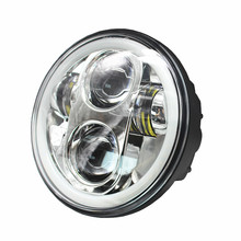 """1X Black Chrome 5.75"""" HID LED Headlight High/Low Beam 5 3/4"""" Front Driving Head Light Headlamp For Harley motor Projector"""