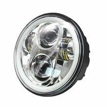 """1X สีดำ Chrome 5.75 """"HID LED ไฟหน้าสูง/ต่ำ Beam 5 3/4"""" ด้านหน้าขับรถไฟหน้าสำหรับ Harley Motor โปรเจคเตอร์"""