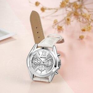 Image 3 - MEGIR frauen uhren luxus quarz wasserdichte Frauen uhr echtes leder strap Chronograph Armbanduhren Relogio Feminino