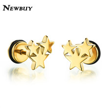 NEWBUY 2017 Fashion Silver/Black/Gold Color 3 Star Cute Stud Earrings For Women Men Stainless Steel Unisex Party Jewelry Gift(China)