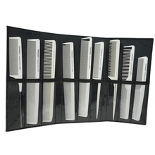 9pcs White Carbon Antistatic Hairdresser Comb Heat Resistant Hairdressing Carbon Cutting Comb Set Pro Hair Comb For Barber T-152