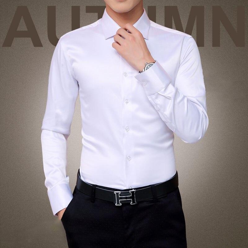 Plus Size 5XL 2017 New Men's Luxury Shirts Wedding Party Dress Long Sleeve Shirt Silk Tuxedo Shirt Men Mercerized Cotton Shirt
