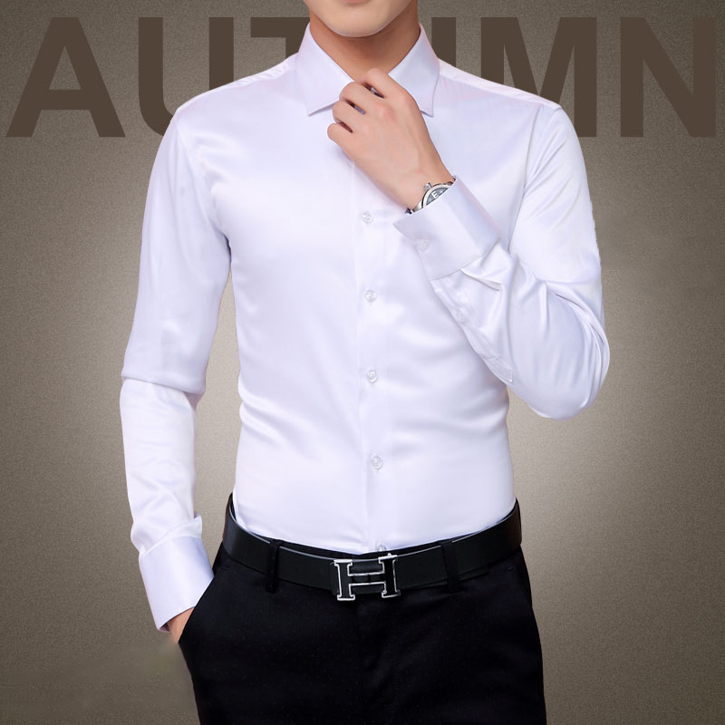 Plus Size 5XL 2016 New Men's Luxury Shirts Wedding Party Dress Long Sleeve Shirt Silk Tuxedo Shirt Men Mercerized Cotton Shirt