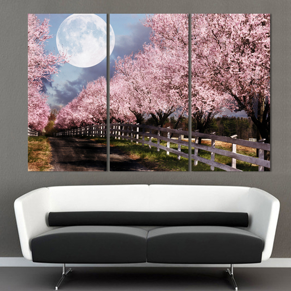 Unframed 3 Piece Home Decor Canvas Art Cherry Blossom With Moonlight Printed Wall For Living Room In Painting Calligraphy From