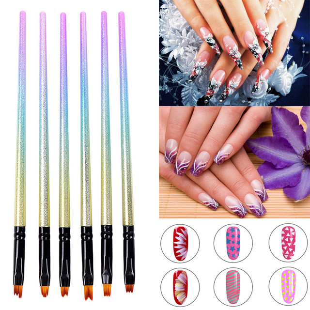 Best Deal New 6pcs Nail Art Brushes Gradient Drawing Pen Uv Gel Nail