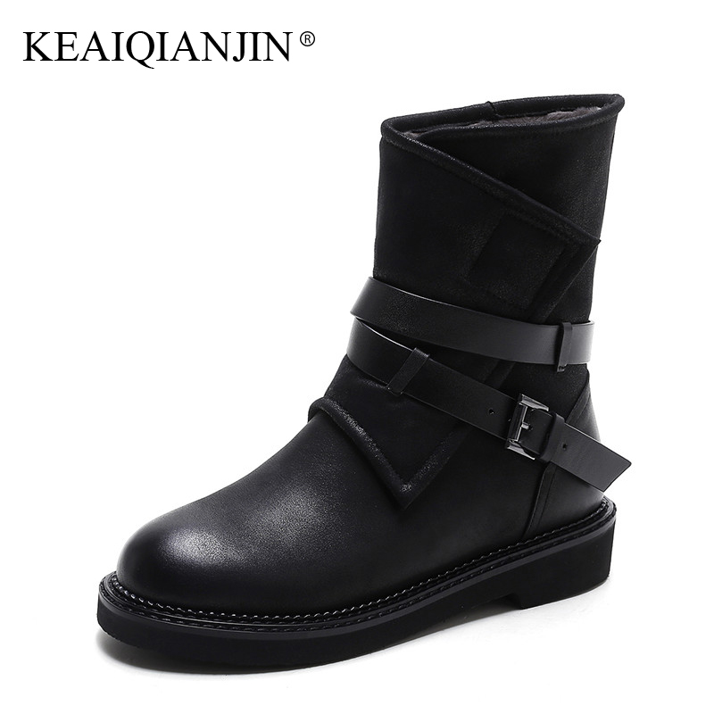 Ekoak New Rivets Ankle Boots for Women Ladies Autumn Boots High Heels Black  Double Buckles Leather ... 10aa8d10379f
