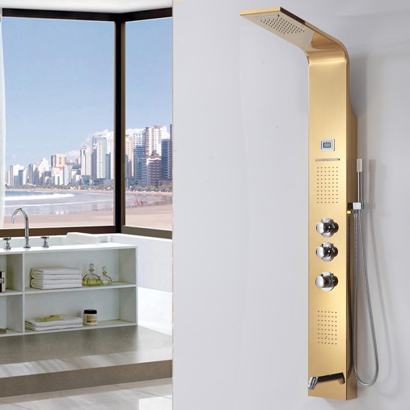 Golden Stainless Steel Rainfall Shower Panel Rain Massage System Shower Faucet with Jets Hand Shower