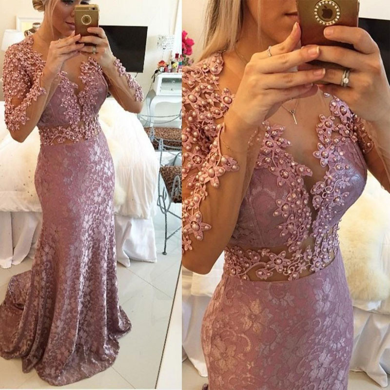 Luxury Pink Mermaid Prom Gowns Beaded Pearls V Neck Crystal Custom Made Long Lace Formal   Evening     Dresses   Long Sleeves Plus Size