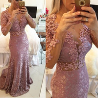 Stunning Pink Mermaid Prom Gowns Crystal Custom Made Long Lace Formal Evening Dresses 2016 With Long Sleeves Plus Size