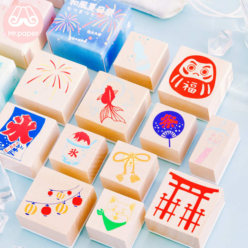 Mr Paper Cool Summer Fireworks Ceremony Japanese Style Wooden Rubber Stamps For Scrapbooking Decoration DIY Cfaft Wooden Stamps