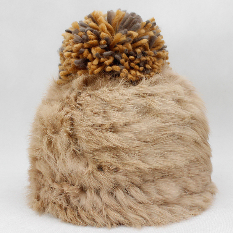 HT2165 Rabbit Fur Hat Women Thick Warm Winter Cap Hats for Women Ladies Pompoms Knitted Hat Female Casual   Skullies     Beanies   Beret