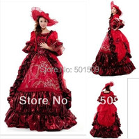 red medieval dress with hat Renaissance lace Gown queen dress Victorian /Marie Antoinette/civil war/Colonial Belle Ball