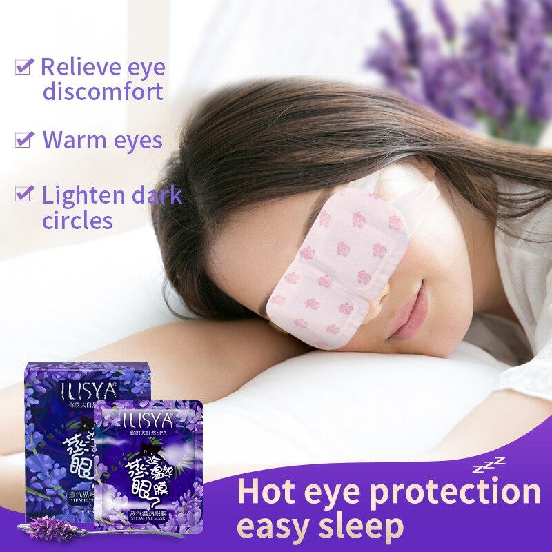ILISYA Lavender Oil Steam Eye Mask 7pcs Eye Care Skin Dark Circle Eliminate Puffy Eyes Fine Line Wrinkles Anti Aging Eye Massage
