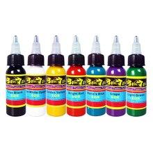 Hybrid Tattoo Machine Ink 7 Colors Set 1OZ 30ml/Bottle Tattoo Pigment Kit Permanent Make Up TI301-30-7 50 colors tattoo