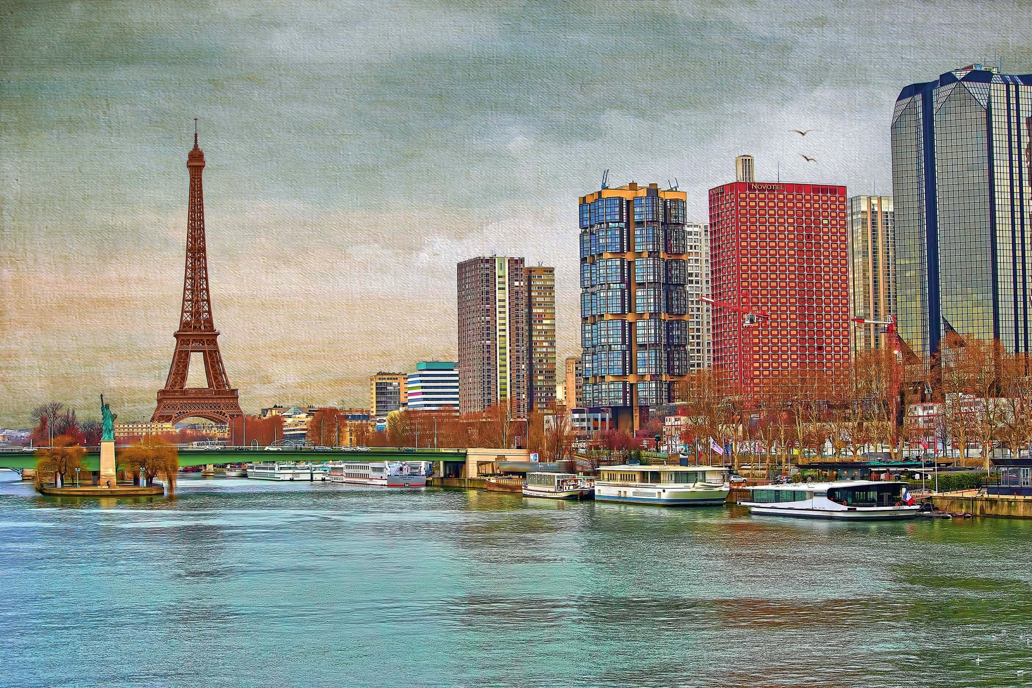 Home decoration bridge Hay France Paris home the statue of Liberty tower the sky river Silk Fabric Poster Print JZK05 ...
