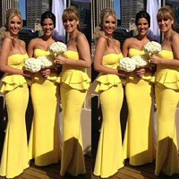 Bright Yellow Ruffles Satin Bridesmaid Gowns Strapless Mermaid Gowns Floor Length Formal Party Dresses Custom Made Plus Size