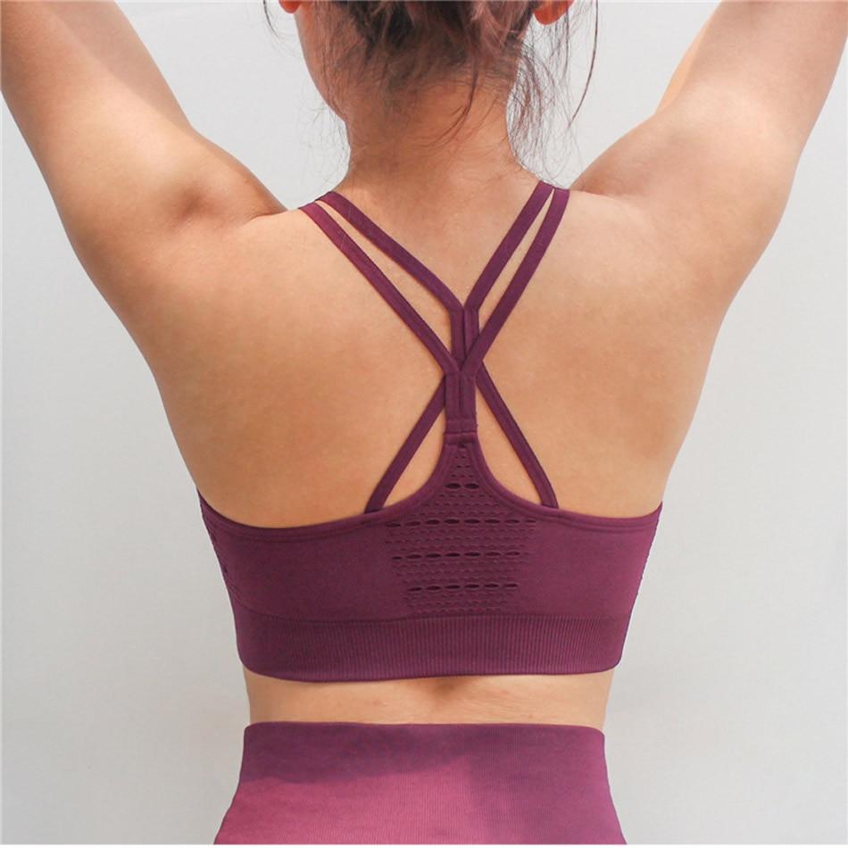 Women's Energy Seamless Sports Bra High Support Sports Bra Hollow Out Yoga Bra Cross Back Soft Wireless Tank Top Running Bra