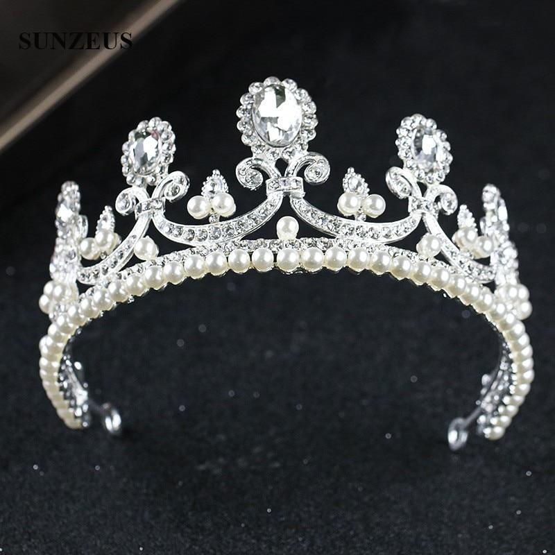 Pearls Bridal Crown Crystal Princess Wedding Tiara With Rhinestones Silver Metal Head Decoration For Brides SQ0293