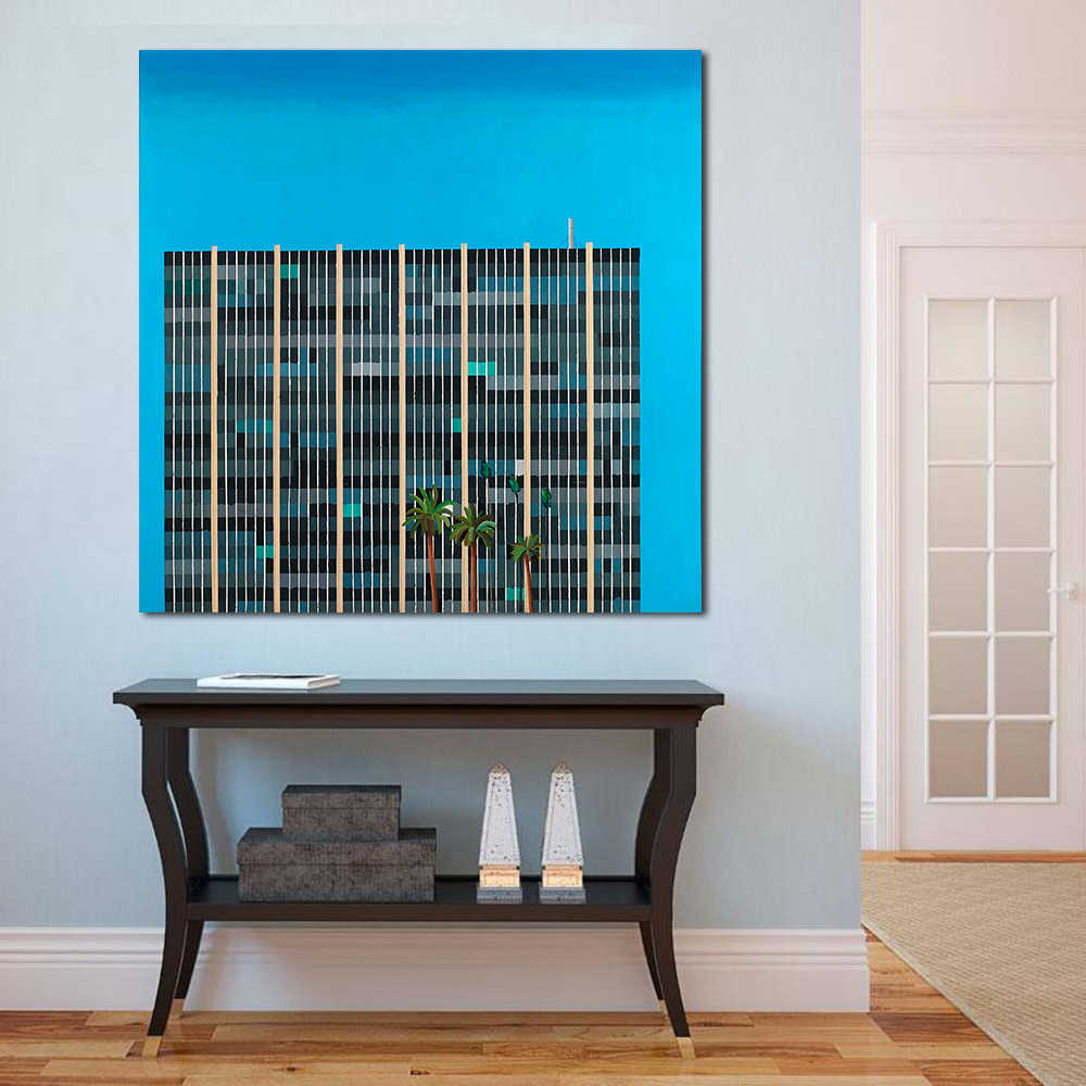 JQHYART David Hockney Building Savings Oil Painting Canvas Art Home Decor Wall Pictures For Living Room Modern No Frame