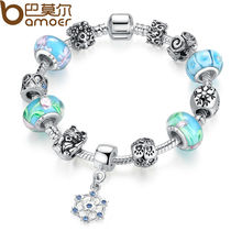 BAMOER Classic Silver Color Strand Bracelet With Blue Beads Round Pendant Fashion Bijoux PA1450