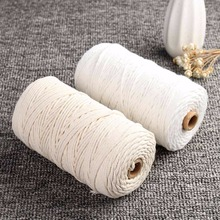 200m Durable White Cotton Cord Natural Beige Twisted Cord Rope Craft Macrame String DIY Handmade Home Decorative supply 1/2/3mm