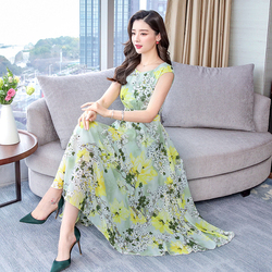 Spring Chiffon Fashion Printed Women Beach Dress 2019 New Summer Round Collar Female Work Wear Slim Elegant Temperament Dresses 2