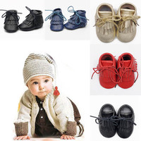 1 Pair Baby Toddler Winter Moccasins Tassel Shoes Firstwalker Boots Genuine Leather Shoes Suitable For 0