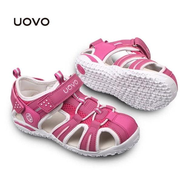 Uovo Boys Girls Summer Shoes Sapato Menina Children Beach Sandals Closed Toe Flats Kids Sandals EU Size 24-38 Non-slip Footwear