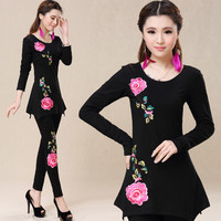 M 4XL Plus Size Brand New Long Sleeves Autumn Women Cotton Bottoming Clothing Chinese Style Woman
