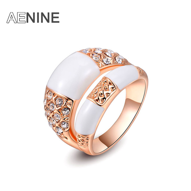 AENINE Personality Double Rows Rings For Women Pave Setting Genuine Austrian Cry