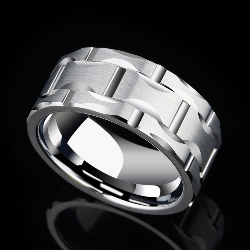 2018 New Design Saya Brand Men's 10mm Brick Pattern Silver Tungsten Carbide Statement Ring Wedding Ring For Anniversary Party-in Rings from Jewelry & Accessories    3