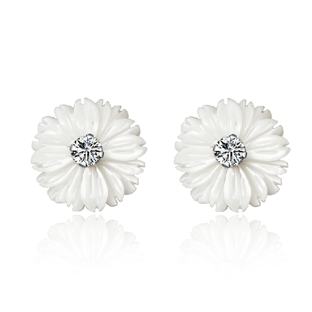 Natural Mother Of Pearl S Daisy Flower Stud Earrings For Young Lady Women Genuine 925 Pure