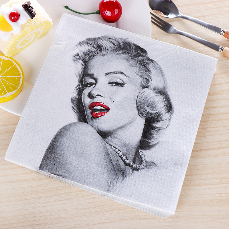 20pcs/lot Marilyn Monroe Paper Napkin birthday party&festival wedding decoration supplies tissues man favor 33cm*33cm