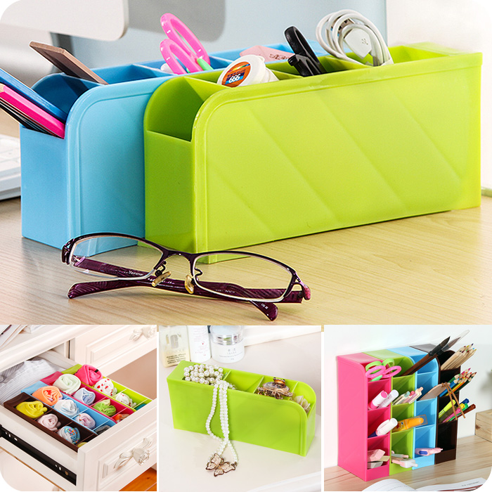1pc Creative 4 Grids Desktop Storage Box Office Stationery Finishing Boxes Kitchen Tableware Storage Box